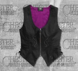 Harley-Davidson® Women's Embroidered Zip-Front Vest 96398-19VW