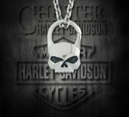 Harley-Davidson® Willie G. Skull Stainless Pendant, Silver Studio Co. Ltd. STP005