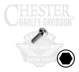 "Harley-Davidson® No. 8-32 x 1/2"" UNC Button Head Hex Socket Screw 94378-92T"