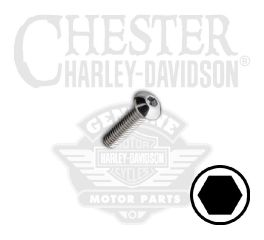 "Harley-Davidson® No. 8-32 x 5/8"" UNC Button Head Hex Socket Screw 94379-92T"