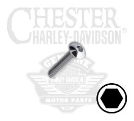 "Harley-Davidson® No. 10-32 x 1/2"" UNF Button Head Hex Socket Screw 94382-92T"