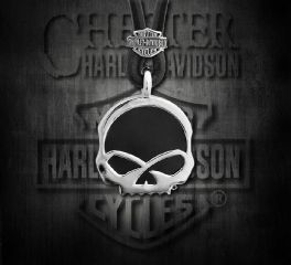 Harley-Davidson® Men's Engraved Skull Onyx Necklace, MOD Jewelry Group Inc. HDN0412