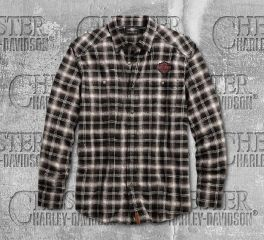Harley-Davidson® Men's Herringbone Plaid Long Sleeve Shirt 96584-19VM