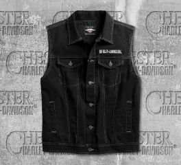 Harley-Davidson® Men's Embossed Upright Eagle Denim Vest 98415-19VM