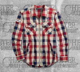 Harley-Davidson® Men's No. 1 Plaid Zippered Slim Fit Long Sleeve Shirt 99194-19VM