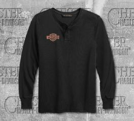 Harley-Davidson® Men's Henley Laser Cut Graphic Long Sleeve Tee 99202-19VM