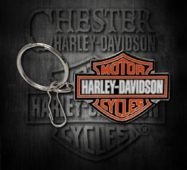 Harley-Davidson® Bar & Shield® Orange Logo Enamel Key Chain, Global Products, Inc. 4232