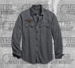 Harley-Davidson® Men's Winged Logo Slim Fit Long Sleeve Shirt 96770-19VM