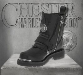 Harley-Davidson® Men's Distortion Skull Metal Motorcycle Black Boots, Wolverine D94167