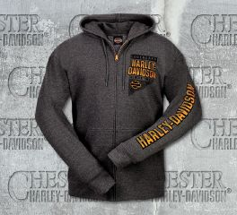 Harley-Davidson® Men's Grey Ridge Name Long Sleeve Hoodie, RK Stratman Inc. R003178