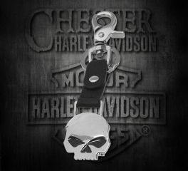 Harley-Davidson® Willie G Skull Medallion Bottle Opener Key Fob, Leather Accessory Source XFL0057