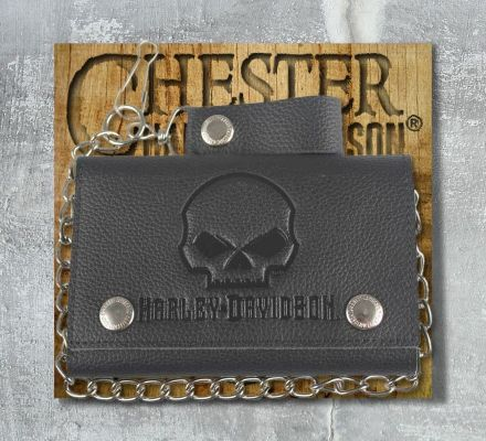 Harley-Davidson® Men's Skull Embossed Trucker Tri-Fold Plus Wallet, Leather Accessory Source XML4719