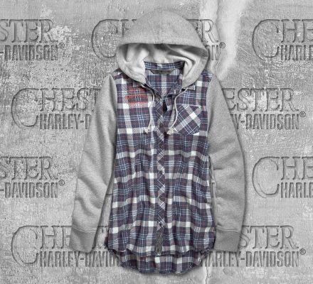 Harley-Davidson® Women's Knit Sleeve and Hood Flannel Shirt 96699-19VW