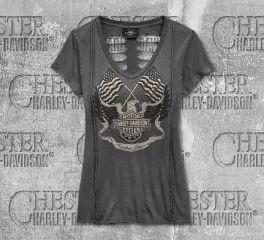 Harley-Davidson® Women's Flag Fashion Short Sleeve Tee 96825-19VW