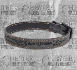 Harley-Davidson® Lasered Flame Rustic Leather Dog Collar NU-H3118L-HLF22