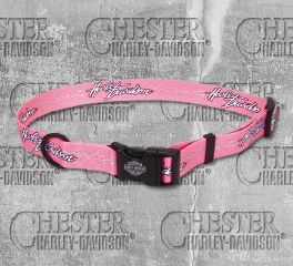 Harley-Davidson® Pink Barbed Wire Adjustable Dog Collar H6321-H-PBW12