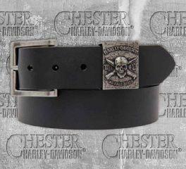 Harley-Davidson® Men's No Free Ride Skull Leather Belt HDMBT10839