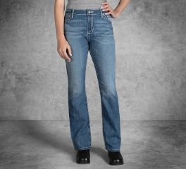 Harley-Davidson® Curvy Boot Cut Embellshed Flap Mid-Rise Jeans 99056-18VW