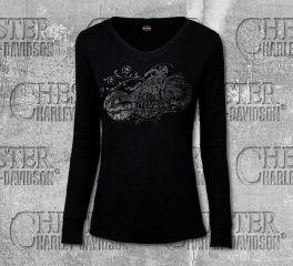Harley-Davidson® Women's Black Shadowed Long Sleeve Tee, RK Stratman Inc. R002949