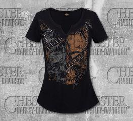Harley-Davidson® Women's Black Skull Short Sleeve Tee, RK Stratman Inc. R002881