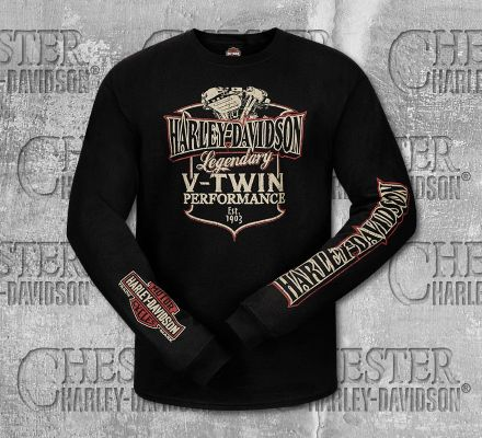Harley-Davidson® Men's Black V-Twin Long Sleeve Tee, RK Stratman Inc. R003173