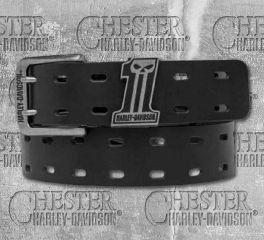 Harley-Davidson® Men's Black Double Down Skull Leather Belt, OkisOnent GmbH HDMBT10841