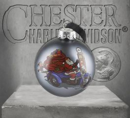 Harley-Davidson® Winter 2019 Biker Santa Ball Glass Ornament HDX-99156