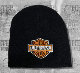 Harley-Davidson® Classic H-D® Bar & Shield Black Knitted Beanie Cap, Global Products, Inc. KNCUS020130