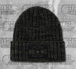 Military Star Ribbed Knit Pattern Cap