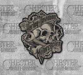 Harley-Davidson® Embroidered Grim Skull & Wrench Emblem Patch, Global Products, Inc. EM341804