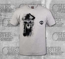 Harley-Davidson® Men's Grey Skull Pinup Girl Short Sleeve Tee, RK Stratman Inc. R003339