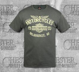 Harley-Davidson® Men's Grey MC Logo Short Sleeve Tee, RK Stratman Inc. R003268