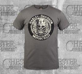Harley-Davidson® Men's Charcoal King Skull Short Sleeve Tee, RK Stratman Inc. R003253