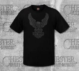 Harley-Davidson® Men's Black Upwing Eagle Short Sleeve Tee, RK Stratman Inc. R003344