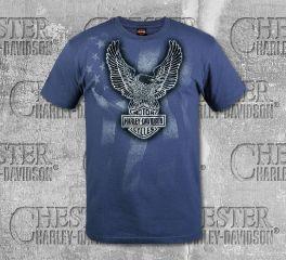 Harley-Davidson® Men's Navy Chrome Eagle Short Sleeve Tee, RK Stratman Inc. R003255