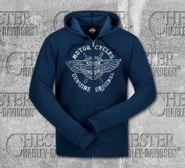Harley-Davidson® Men's Navy Winged Original Hooded Sweatshirt, RK Stratman Inc. R003483