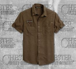 Harley-Davidson® Men's Tan Skull Flag Short Sleeve Shirt 96284-20VM