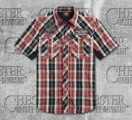 Harley-Davidson® Men's Plaid Performance Short Sleeve Shirt 96297-20VM