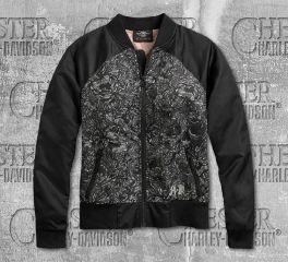 Harley-Davidson® Women's Black Allover Print Skull Bomber Jacket 97121-20VW