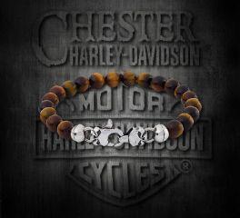 Harley-Davidson® Thierry Martino Designed Willie G Skull Sterling Silver Tiger Eye Bracelet, Silver Studio Co. Ltd. HDBR077