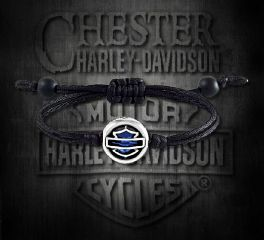 Harley-Davidson® Sapphire Bar & Shield® Sterling Silver Nylon Bracelet, Silver Studio Co. Ltd. HDBR209S