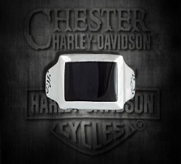 Harley-Davidson® Sterling Silver H-D® Onyx Ring By Thierry Martino (Small), Silver Studio Co. Ltd. HDR201SMALLO