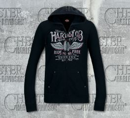 Harley-Davidson® Women's Black Winged Label Hoodie, RK Stratman Inc. R003511