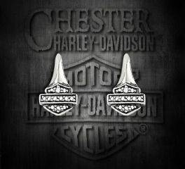 Harley-Davidson® Thierry Martino Sterling Silver Cubic Zirconium Earrings, Silver Studio Co. Ltd. HDE025