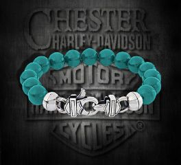 Harley-Davidson® Turquoise H-D® B&S Sterling Silver Bracelet by Thierry Martino, Silver Studio Co. Ltd. HDBR078