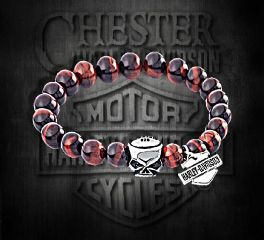 Harley-Davidson® Willie G Skull Sterling Silver Red Tiger Eye Gemstone Bracelet, Silver Studio Co. Ltd. HDBR104
