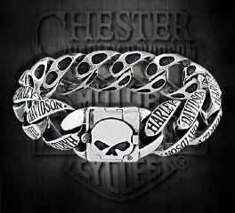 Harley-Davidson® Silver Plated Skull Logo Bracelet, Silver Studio Co. Ltd. SS-HDBR206-SP