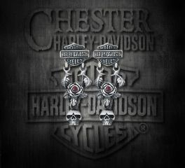 Harley-Davidson® Women's Skull & Rose Garnet Sterling Silver Earrings, Silver Studio Co. Ltd. HDE021