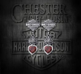 Harley-Davidson® Sterling Silver Bar & Shield® Garnet Gemstone Earrings, Silver Studio Co. Ltd. HDE023