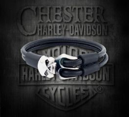 Harley-Davidson® Black Leather Skull Bracelet, Silver Studio Co. Ltd. STBR023